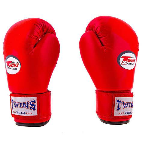 Боксерские перчатки Twins, PVC, 4oz красный, фото 2