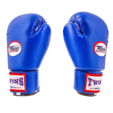Боксерские перчатки Twins, PVC, 6oz, синий, фото 2