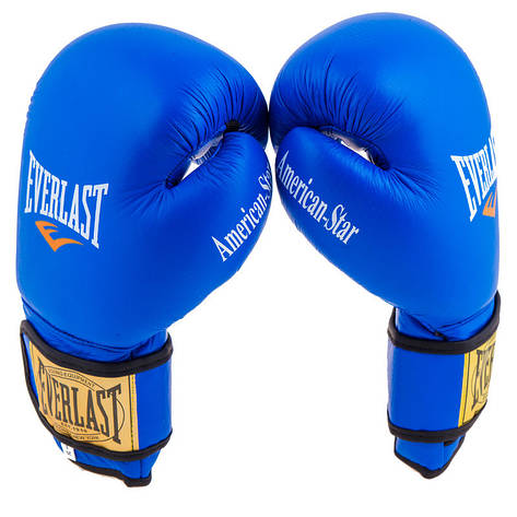 Боксерские перчатки Ever AmericanStar, кожа, 8oz, синий, фото 2