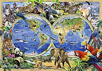 Фотообои 3D 368х254 см Карта мира с животными (12842P8)