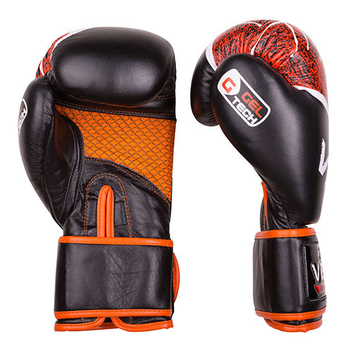 Боксерские перчатки Velo microfiber, кожа, 10oz черно-оранжевый