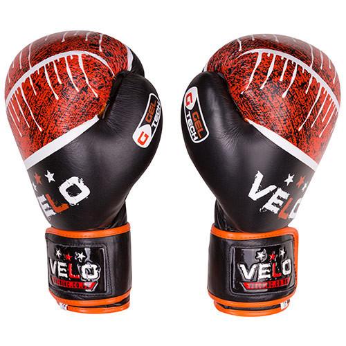 Боксерские перчатки Velo microfiber, кожа, 12oz, черно-оранжевый