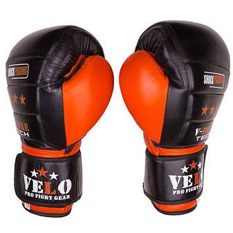 Боксерские перчатки Velo shock padding, кожа, 10oz, черно-оранжевый, фото 2