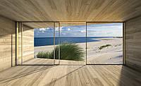 Фотообои флизелиновые 3D Море 254х184 см Вид с окна на пляж (3299V4)