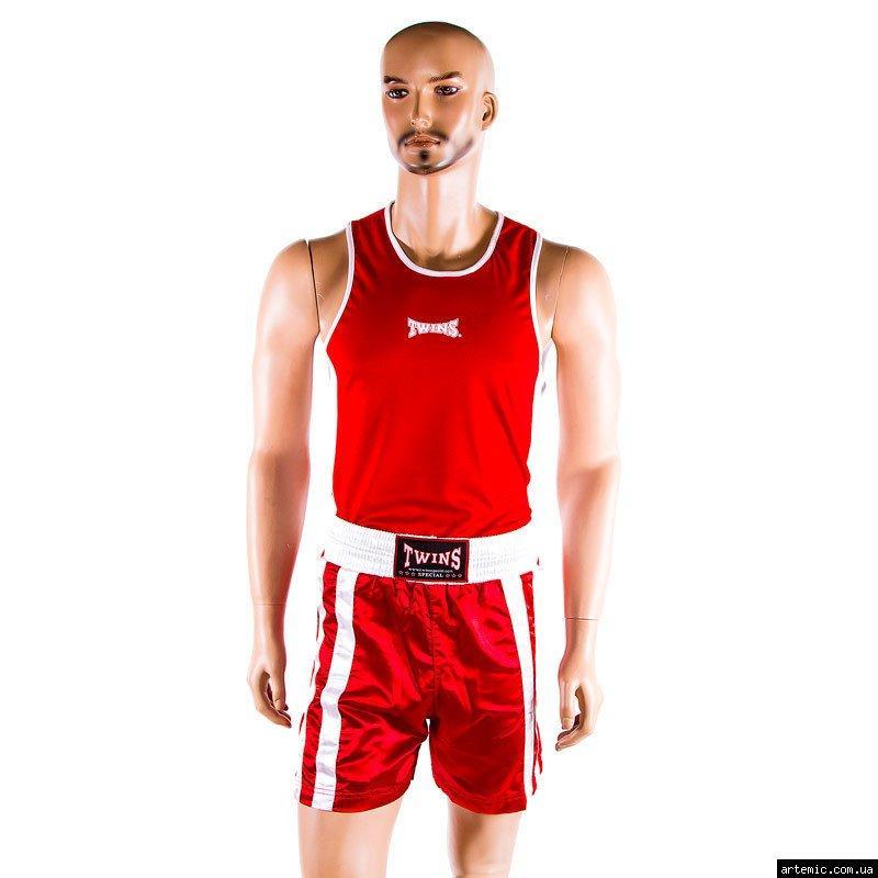 Майка,трусы боксерские Twins, красный, размер XS