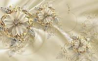 Фотообои флизелиновые цветы 416х254 см Золотые украшения (1006-KN)