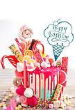 Ексклюзивний топпер Happy Birthday у формі морозива Пластиковий топпер Happy Birthday в фіолетовому кольорі, фото 4