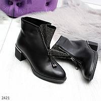 Стильные черные кожаные ботинки с декором