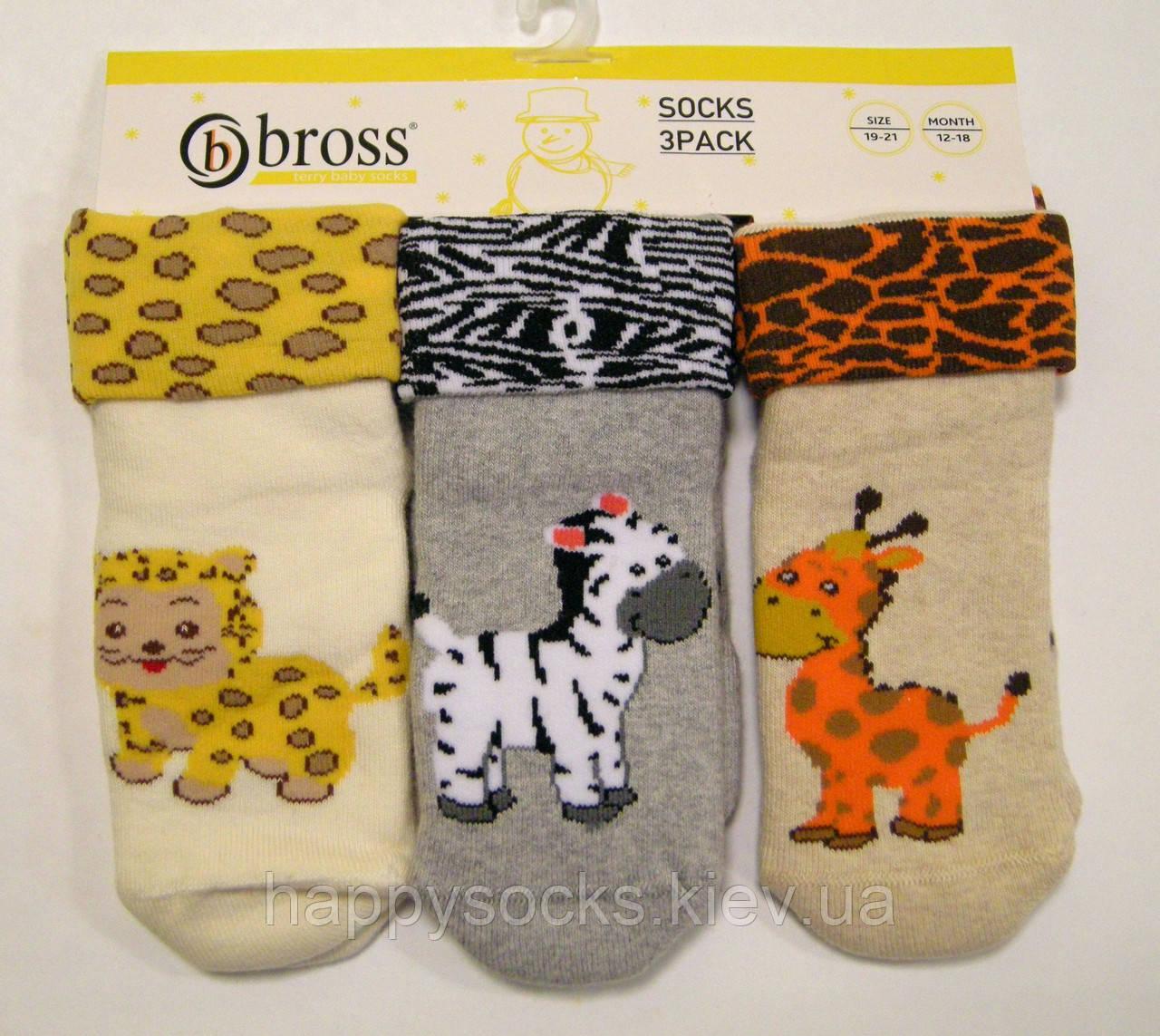 Детские носочки махровые с силиконом на стопе со зверятами