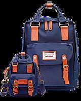 Рюкзак Doughnut синий + мини сумочка в подарок, фото 1