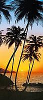 Фотообои бумажные на дверь 86х200 см 1 лист: Море-пальмы №529