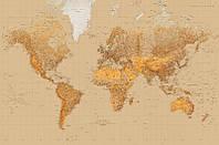 Фотообои бумажные на стену 115х175 см 1 лист: Стилизированная мировая карта  №623