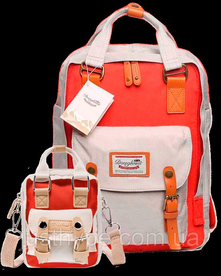 Рюкзак Doughnut коралл + мини сумочка в подарок