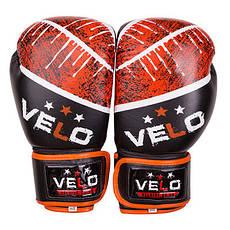 Боксерские перчатки Velo microfiber, кожа, 10oz черно-оранжевый, фото 2