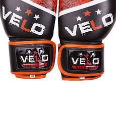 Боксерские перчатки Velo microfiber, кожа, 10oz черно-оранжевый, фото 3