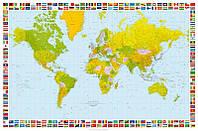 Фотообои бумажные на стену 115х175 см 1 лист: Карта мира №655
