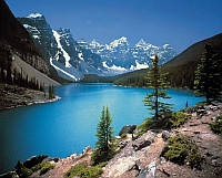 Фотообои на плотной полуглянцевой бумаге на стену 368х254 см 8 листов:  Горное озеро, Канада