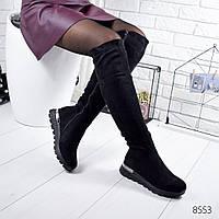 Сапоги женские ботфорты Freez черные , женская обувь