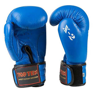 Боксерские перчатки TopTen X-2 кожа, 8oz, синий, фото 2