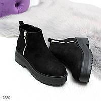 Черные замшевые женские ботинки на утолщенной подошве