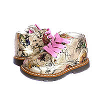 Ботинки детские демисезонные  для девочки с супинатором и кожаной стелькой. Ботиночки Цветы 24 р (золотые)