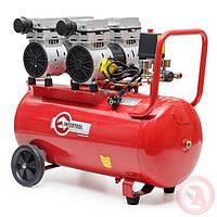 Компрессор 50 л, 2х1.1 кВт, 220 В, 8 атм, 270 л/мин, малошумный, безмасляный, 4 цилиндра INTERTOOL PT-0023, фото 1