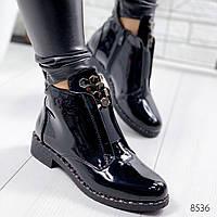 Ботинки женские Tron черный лак , женская обувь