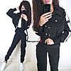 Вельветовый женский брючный костюм с жакетом и лампасами 9KO240