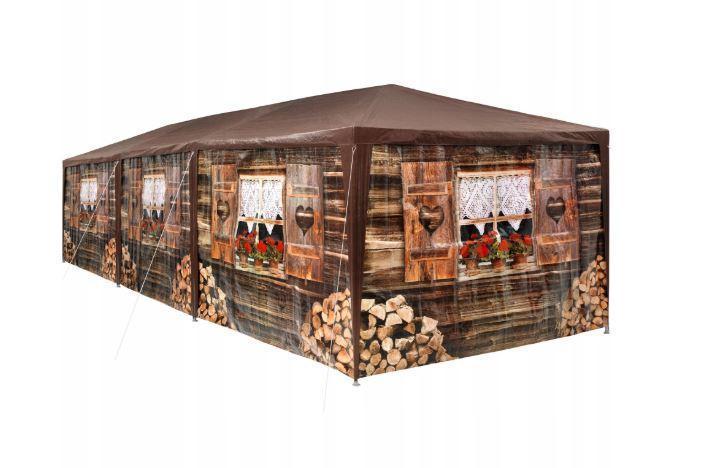 Садовий павільйон-намет 9х3м 8 стін (Коричневий)