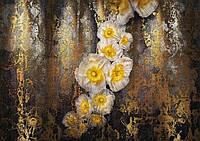 Фотообои на плотной полуглянцевой бумаге для стен 368*254 см из 8 листов:  цветы, Роскошь маков и благородство золота