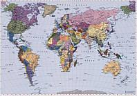Фотообои на плотной полуглянцевой бумаге для стен 270*188 см из 4 листов:  Карта мира