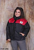 Осенняя куртка женская короткая батальная (р.48-58) 1141 (29)