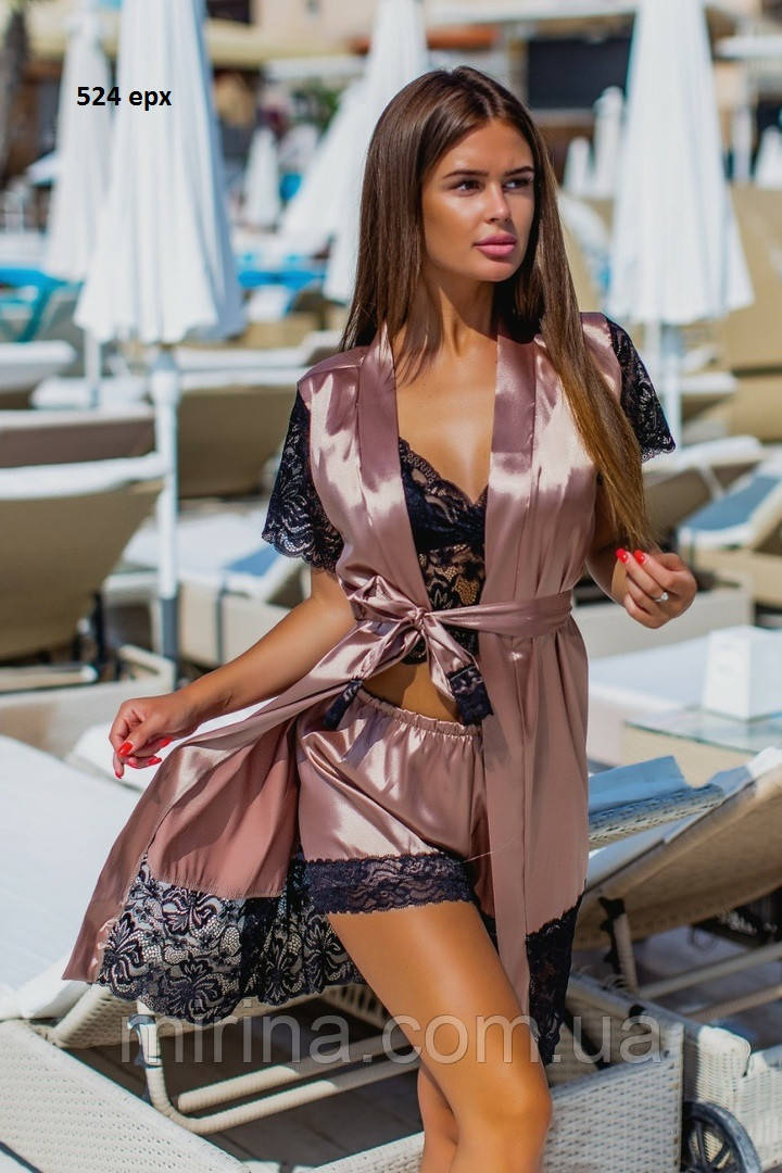 Женский шелковый халат с пижамой 524 ерх