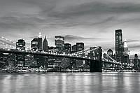 Фотообои город Нью-Йорк (368*254 флиз, 254*184 бумага) Бруклинский мост  черно-белый (011P8CN)