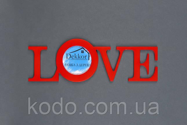 """Фоторамка мультирамка """"Love"""" из Дерева на 1 фото 10х10 см, фото 2"""