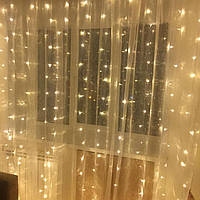 Гирлянда Штора 3 х 2.5 м (340 LED статический режим) Световой занавес Штора Теплый Желтый
