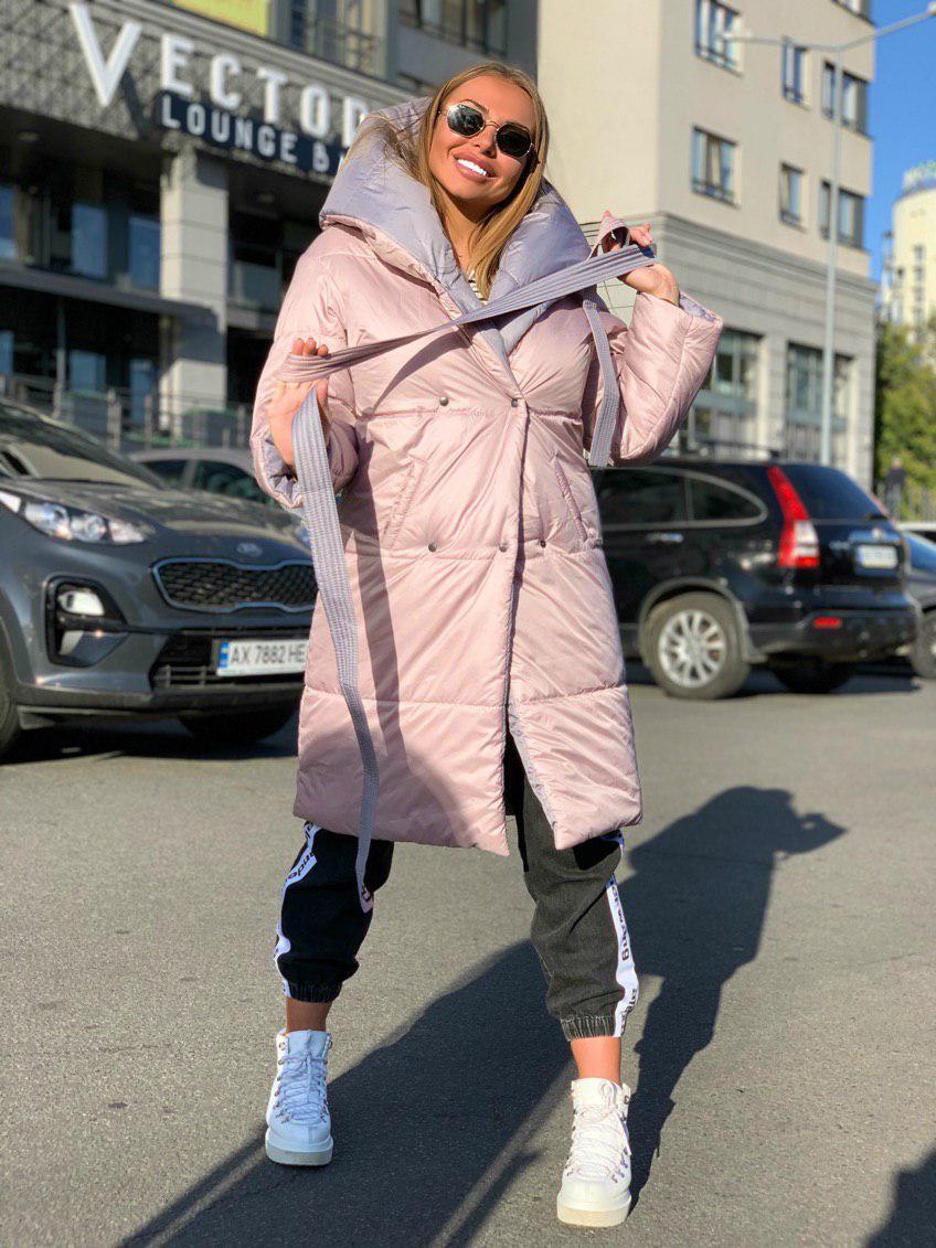Женское двухстороннее плащевое Пальто с капюшоном и поясом 18pt218