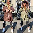 Женское двухстороннее плащевое Пальто с капюшоном и поясом 18pt218, фото 3