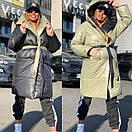 Женское двухстороннее плащевое Пальто с капюшоном и поясом 18pt218, фото 4