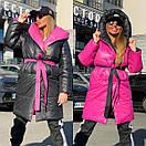 Женское двухстороннее плащевое Пальто с капюшоном и поясом 18pt218, фото 5