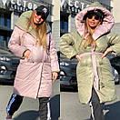 Женское двухстороннее плащевое Пальто с капюшоном и поясом 18pt218, фото 6