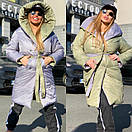 Женское двухстороннее плащевое Пальто с капюшоном и поясом 18pt218, фото 7
