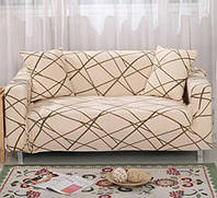 Чехол для трехместного дивана Supretto Бежевый с узором (5548-0001)