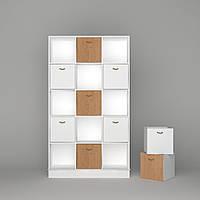 Книжный стеллаж для книг и игрушек с ящиками FeliFam Scandi (5 ячеек)