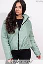 Короткая демисезонная куртка в больших размерах на молнии с воротником стойкой 1ba258, фото 3