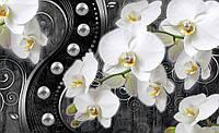 Фотообои 3D цветы (флизелиновые, бумага 368х254 см) Орхидеи и черные узоры  (2973CN)