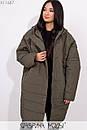 Плащевое женское Пальто оверсайз в больших размерах с капюшоном и карманами 1ba269, фото 4