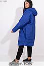 Плащевое женское Пальто оверсайз в больших размерах с капюшоном и карманами 1ba269, фото 9
