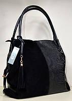 Женская модная сумка со вставкой черного замша среднего размера