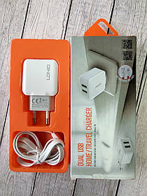 CЗУ-USB 2x универс. LDNIO A2202 2400 mAh + кабель Micro Usb white